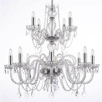 Empress Crystal Chandelier Lighting With Chrome Sleeves & Crystal Shades