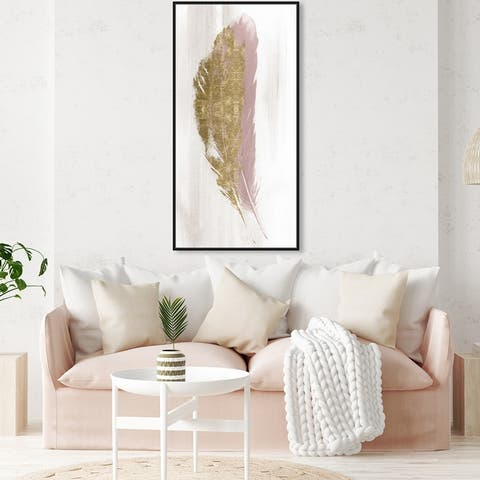Oliver Gal 'Blush and Gold Feather' Fashion and Glam Wall Art Framed Canvas Print Feathers - Gold, White