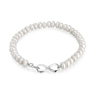 Bling Jewelry Freshwater Cultured Button Pearl Bridal Infinity Bracelet Rhodium Plated - White