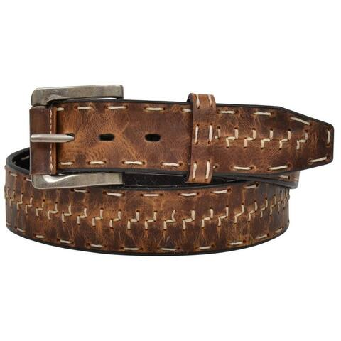 "3D Western Belt Mens 1 1/2"" Wide Distressed Z Stitch Brown"