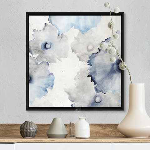 """Indigo Water Blossoms"" Black Float Frame Canvas Art"