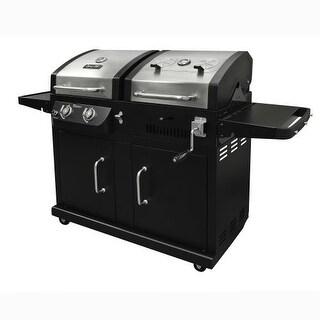 Dyna-Glo DGB730SNB-D 2-Burner 24,000 BTU Gas and Charcoal BBQ Grill with Adjusta