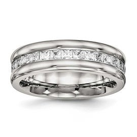 Stainless Steel Polished with CZ Ring (7 mm)