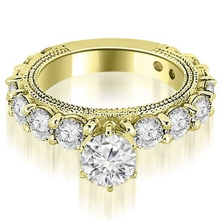 2.25 CT.TW Antique Round Cut Diamond Engagement Ring - White H-I