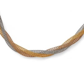 Chisel Stainless Steel Yellowith Rose IP-plated Twisted Mesh Necklace - 18 in