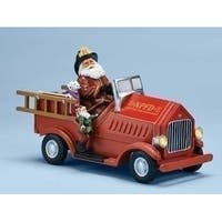 "10.25"" Amusements Musical Lighted Santa Claus on Red Fire Engine Christmas Decor"