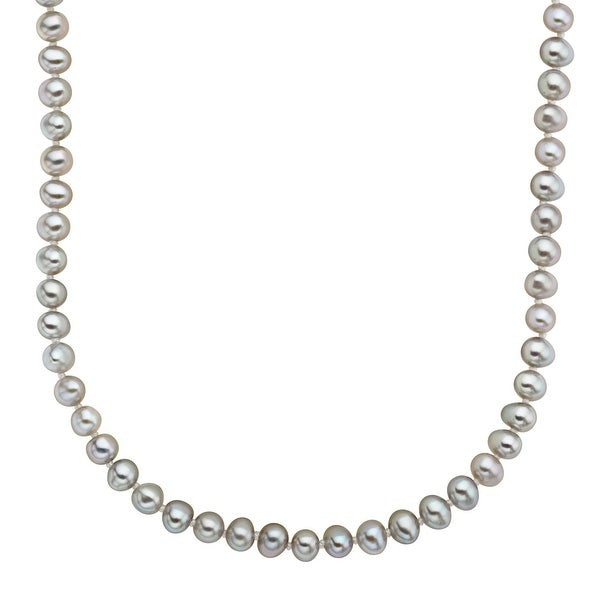 4-5 mm Grey Freshwater Pearl Necklace in Sterling Silver