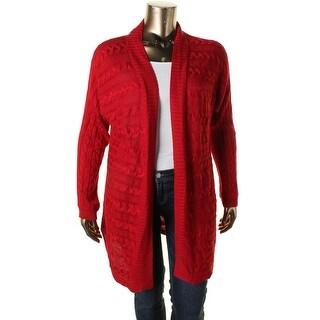 Lauren Ralph Lauren Womens Cardigan Sweater Cable Knit Open Front