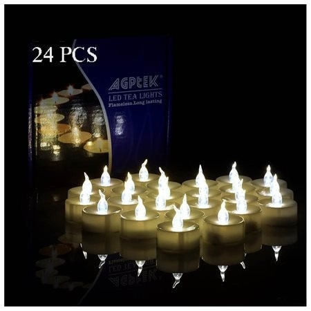 24 PCS Flameless Smokeless LED Tealight Timer Candles Battery Operated for Wedding Party Warm White