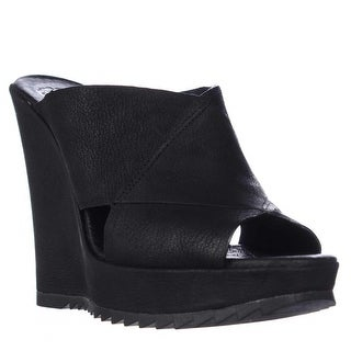 Vince Camuto Garton Wedge Peep Toe Slide Sandals - Black