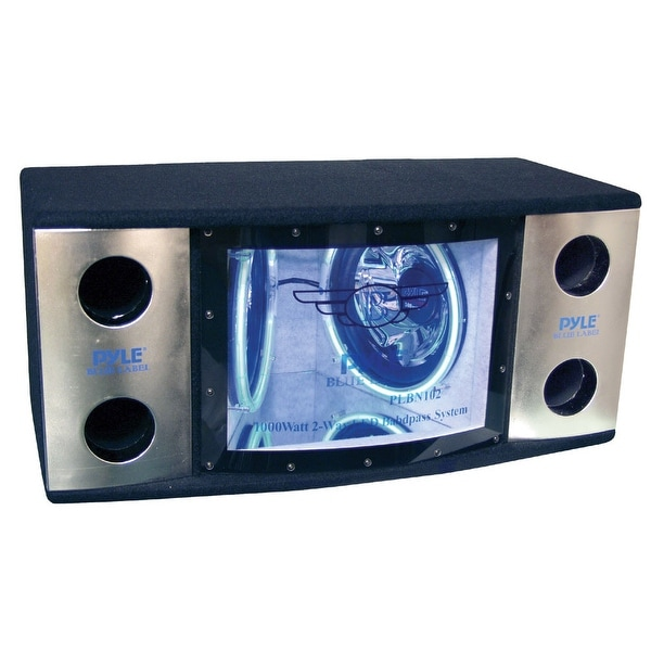 "BANDPASS BOX PYLE DUAL 12"" BLUE LED WOOFER RINGS"