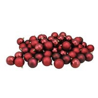 "60ct Burgundy Red Shatterproof 4-Finish Christmas Ball Ornaments 2.5"" (60mm)"