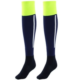 Men Sport Knee High Elastic Cuffs Football Soccer Long Socks Drak Blue Pair