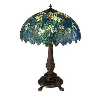 "Meyda Tiffany 124815 Nightfall Wisteria 2 Light 26"" Tall Hand-Crafted Table Lamp with Stained Glass"