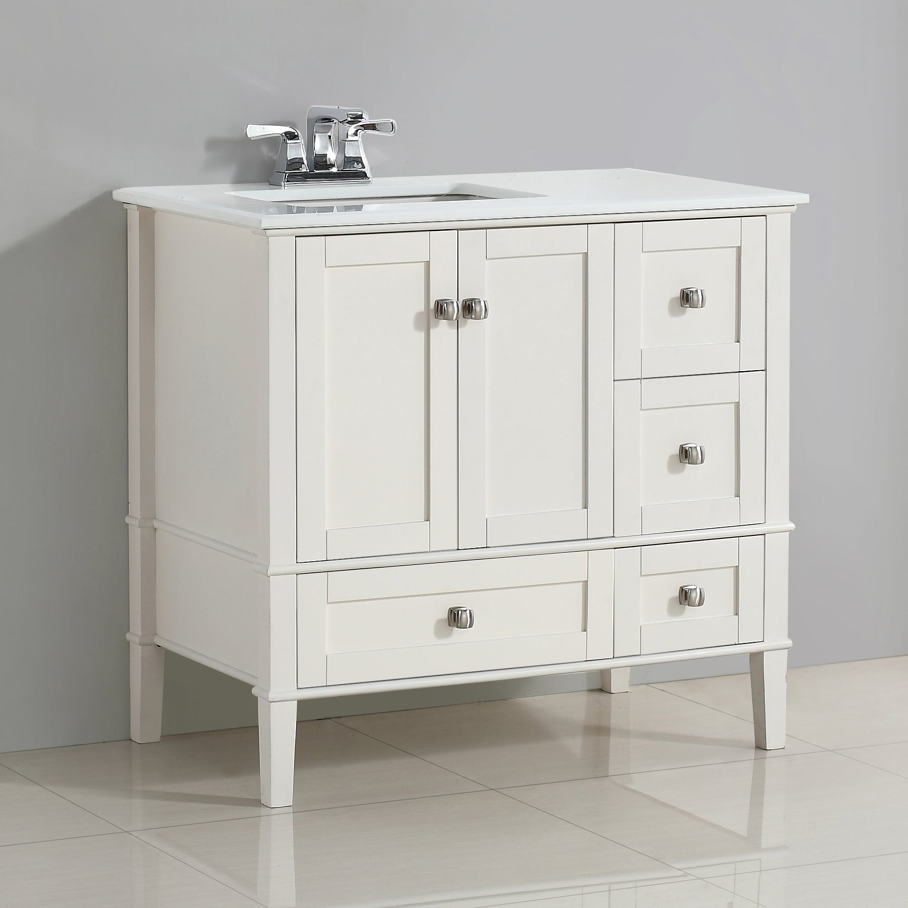Wyndenhall Windham 36 Inch Contemporary Bath Vanity With White Engineered Quartz Marble Top Overstock 9959935