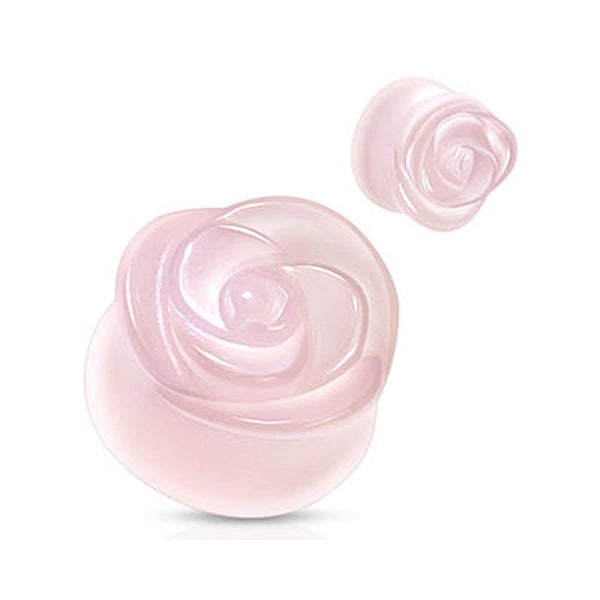 Rose Quartz Semi Precious Stone Rose Carved on Single Side Double Flared Plug (Sold Individually)