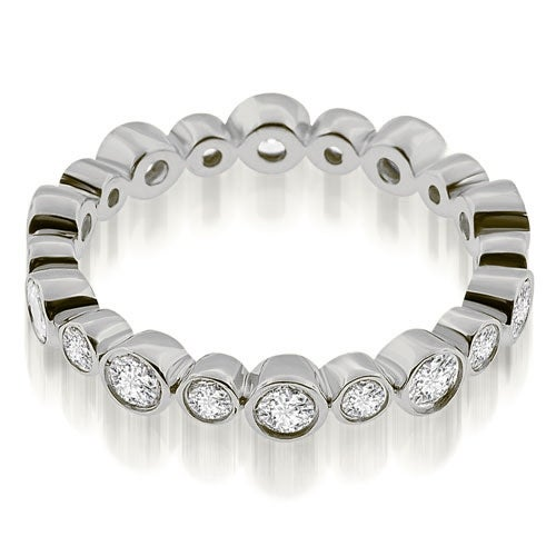0.75 cttw. 14K White Gold Stylish Bezel Set Round Cut Diamond Eternity Ring