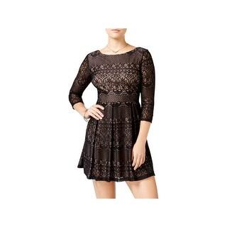 B. Darlin Womens Juniors Party Dress Lace Overlay Three-Quarter Sleeve