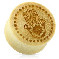 Hamsa Hand with Dotted Circle Organic Wood Saddle Fit Plug (Sold Ind.)