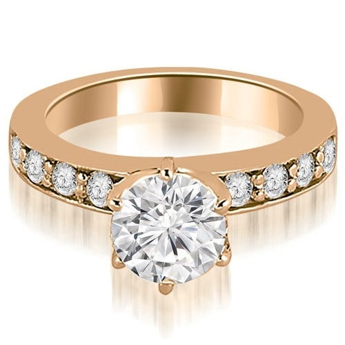 1.15 cttw. 14K Rose Gold Round Cut Diamond Engagement Ring