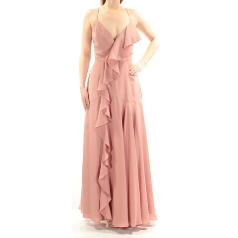 Womens Pink Spaghetti Strap Maxi A-Line Prom Dress Size: 8