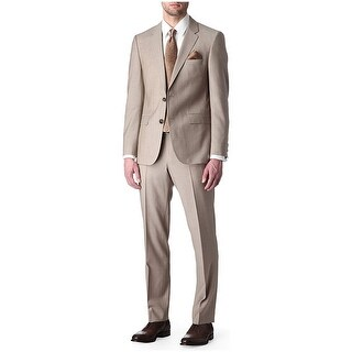 Hugo Boss Astro / Hill Slim Fit Tan Suit 40 Long 40L Flat Front Pants 34W