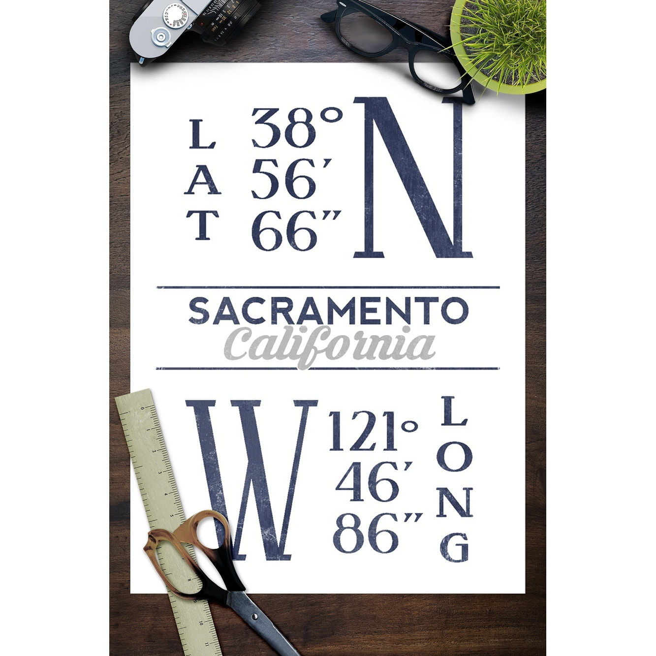 shop sacramento california latitude longitude blue lantern press artwork art print multiple sizes available overstock 27930396 overstock com