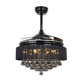 Modern 42-inch LED Ceiling Fan with Remote Crystal Chandelier