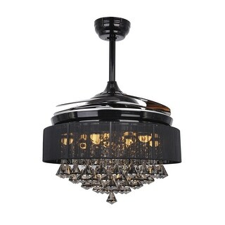 Retractable 42-inch LED Ceiling Fan with Remote Crystal Fandelier
