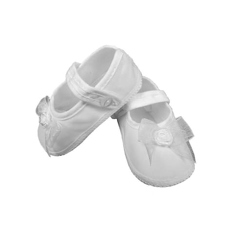 Baby Girls White Shimmery Organza Bow Christening Shoes