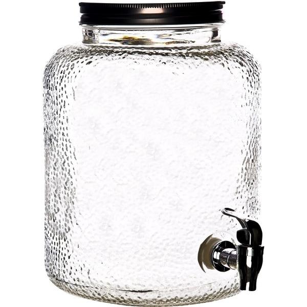 Palais Glassware High Quality Mason Jar Beverage Dispenser - Traditional Tin Screw Off Lid - 2 Gallon Capacity
