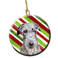 Scottish Deerhound Candy Cane Christmas Ceramic Ornament