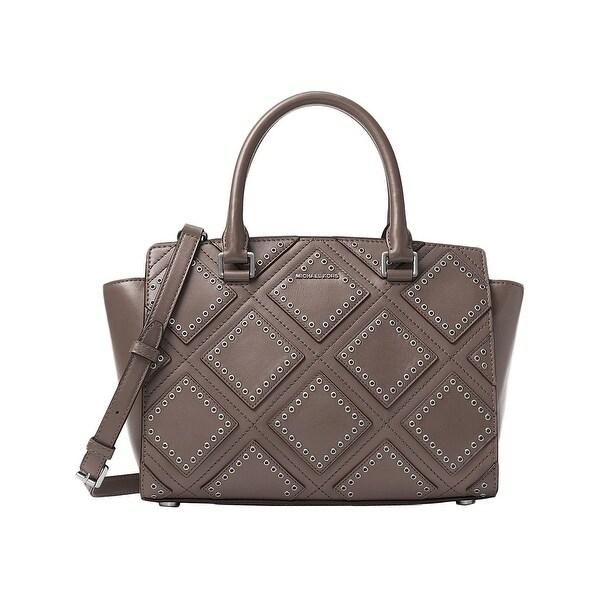 Michael Kors Womens Selma Satchel Handbag Leather Grommet Medium