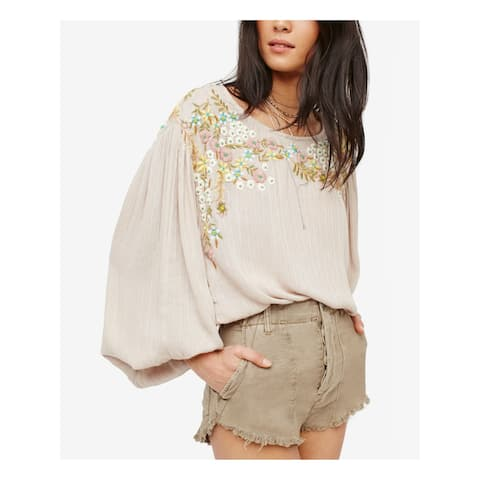 FREE PEOPLE Womens Beige Fringed Cropped Short Size: 8