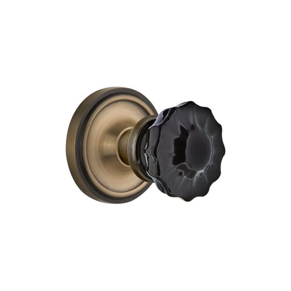 Nostalgic Warehouse CLACRB_SD_NK Classic Solid Brass Rose Single Dummy Door  Knob With Black Crystal Knob