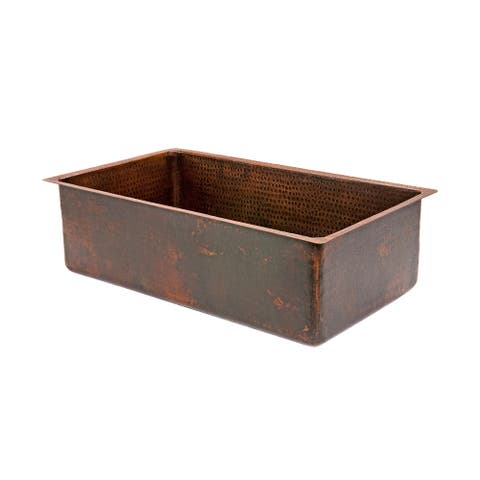 Premier Copper Products KSDB30199 30-inch Hammered Copper Single Basin Kitchen Sink