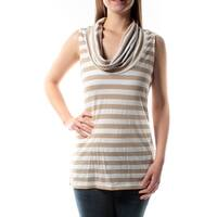 Womens Beige, White Striped Sleeveless Scoop Neck Top  Size  M