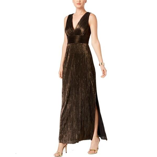 Jessica Howard Black Womens Size 14 V-Neck Metallic Gown Dress
