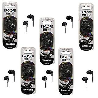 Panasonic ErgoFit In-Ear Earbud Headphones - 5 Pack (Black)