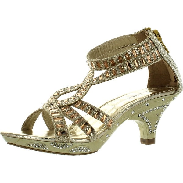Lucita Girls Dress Shoes Jan-308Km Party Heels Glitter Rhinestone Strappy Sandals