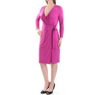 Womens Pink 3/4 Sleeve Knee Length Faux Wrap Wear To Work Dress Size: 8