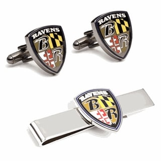 Baltimore Ravens Cufflinks and Tie Clip Gift Set NFL - Silver