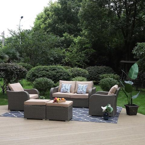 PHI VILLA 5-Piece Outdoor Rattan Sectional Sofa Conversation Set Deep Seating with 2 Ottomans