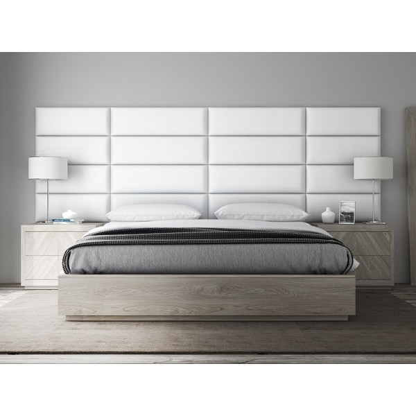 VANT Upholstered Headboards - Accent Wall Panels - Vintage Leather White Dove - 39 Inch Twin-King - Set of 4 panels.. Opens flyout.