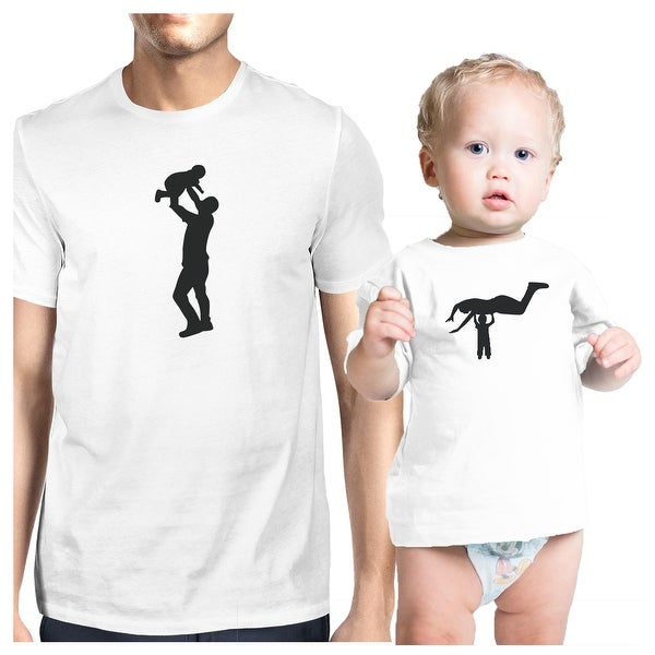 Silhouette Father Child Funny T-Shirt Matching For Dad and Baby Boy
