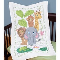 "Stamped White Quilt Crib Top 40""X60""-Jungle"