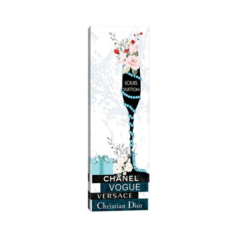 """iCanvas """"Louis Champagne Glass With Flowers Pearls On Blue & Black Fashion Books"""" by Pomaikai Barron Canvas Print"""