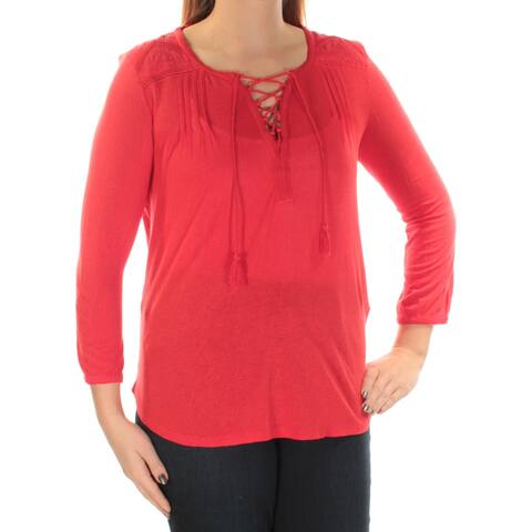 LUCKY BRAND Womens Red Tie 3/4 Sleeve V Neck Top Size: L