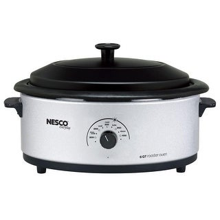 Nesco 4816-47 Roaster Oven with Porcelain Cookwell, 6-Quart, Silver & Black