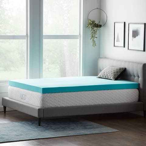 Lucid Comfort Collection 4 Inch Gel and Aloe Memory Foam Topper